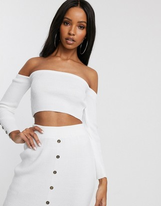 Fashionkilla knitted long sleeve bandeau crop top with buttons co ord in white