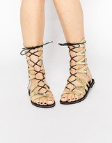 Missguided Geometric Lace Up Flat Sandals