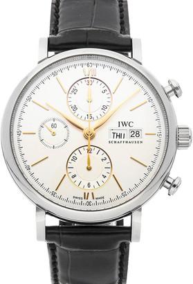 IWC Silver Stainless Steel Portofino Chronograph IW3910-31 Men's Wristwatch 42 MM