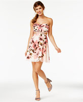 Speechless Juniors' Floral-Print Cutout Strapless Dress, A Macy's Exclusive