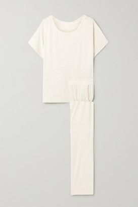 Eberjey Georgie Not So Basic Striped Stretch-jersey Pajama Set - Cream