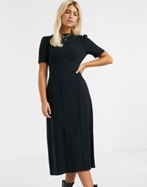Asos Design DESIGN midi tea dress with buttons and split detail in black