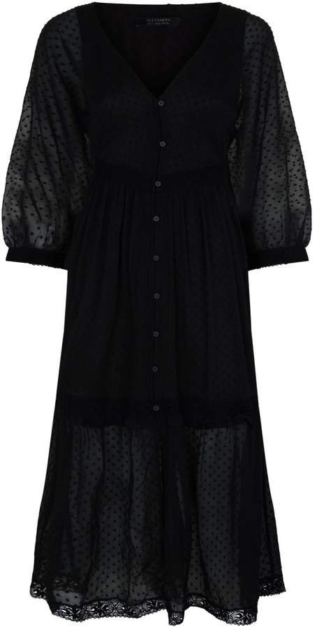 AllSaints Palma Tiered Spotted Dress