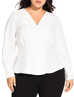 City Chic Plus Faux-Wrap Top
