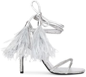 Valentino Upflair Feather-Trimmed Crystal-Embelished Leather Sandals