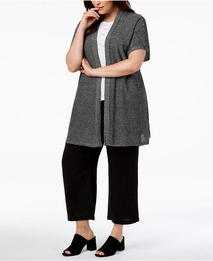 Eileen Fisher Plus Size Organic Linen Kimono Cardigan