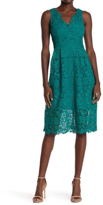 ASTR the Label V-Neck Lace Fit & Flare Dress