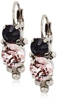 Sorrelli Core Antique Silver Tone Crystal Noir Ornate Rounds French Wire Drop Earrings