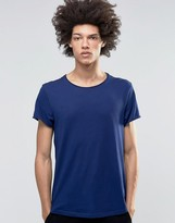 Weekday Jon Wide Neck T-Shirt Soft Jersey in Navy