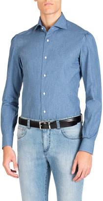 Isaia Men's Chambray Dress Shirt
