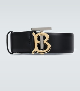 Burberry TB logo plaque leather belt