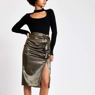 River Island Womens Gold ruffle split hem pencil skirt