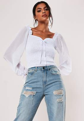 Missguided White Sheer Puff Sleeve Tie Front Crop Top