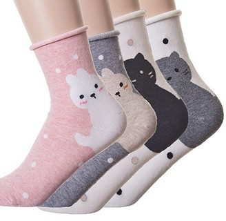 Happytree Womens Ladies Casual Socks - Fun Cool Rabbit Cartoon Sweet Animal Design Good for Gift Idea One Size Fits All (Rabbit&Cat 4 Pairs)