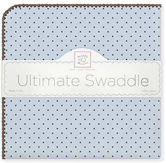 Swaddle Designs Ultimate Winter Swaddle, X-Large Receiving Blanket, Made in USA, Premium Cotton Flannel, Brown Polka Dots on Pastel Blue (Mom's Choice Award Winner)