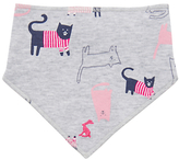 Joules Baby Bibby Nchief Cats Bib, Grey/Pink