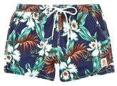River Island MensBlue Franklin & Marshall floral swim trunks