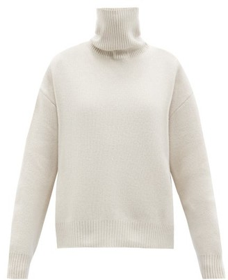 Raey Cropped Displaced-sleeve Roll-neck Wool Sweater - Light Pink