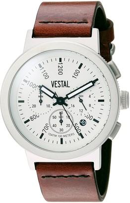 Vestal Retrofocus Chrono Stainless Steel Japanese-Quartz Watch with Leather Calfskin Strap