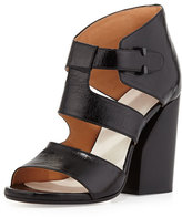Maison Margiela Strappy Leather Cutout Sandal, Black