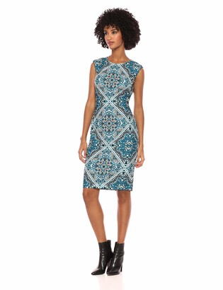 Vince Camuto Women's Patterned Cap Sleeve Bodycon Dress