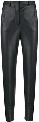 Incotex tapered faux-leather trousers