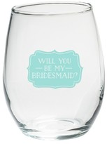 Kate Aspen Set of 4) Will You Be My Bridesmaid Something Blue 15 Oz. Stemless Wine Glass