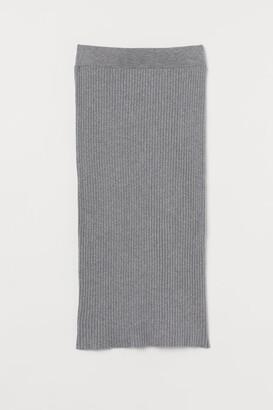 H&M Rib-knit Cotton-blend Skirt - Gray