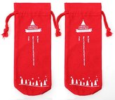Christmas Socks Christmas Stocking Decorations Bottle Sleeve XMAS Gift Bag For Kids Hold Gift Canvas Material - 13.5 x 5inch 2pack