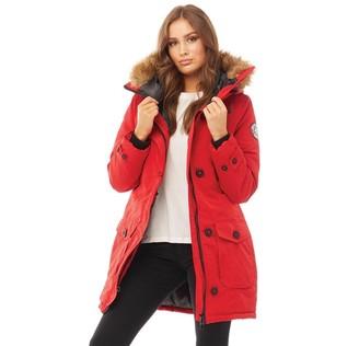 Brave Soul Womens Jacobs Faux Fur Parka Red/Natural
