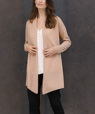Colour Works by In Cashmere Women's Cardigans Camel - Camel Drape-Front Cashmere Open Cardigan - Women