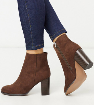 ASOS DESIGN Wide Fit Rye heeled ankle boots in brown