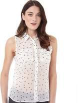Superdry Womens Sleeveless Chiffon Sheer Shirt Scatter Star