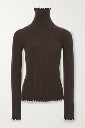 LVIR Distressed Ribbed-knit Turtleneck Sweater - Brown