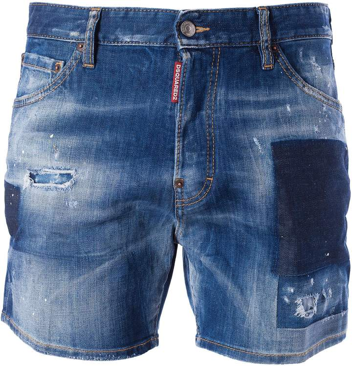 DSQUARED2 Distressed Patch Denim Shorts