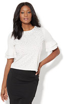 New York & Co. 7th Avenue - Embellished Ruffle-Sleeve Top