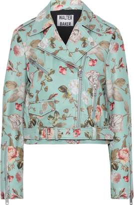 Walter W118 By Baker Tadd Cropped Floral-print Leather Biker Jacket