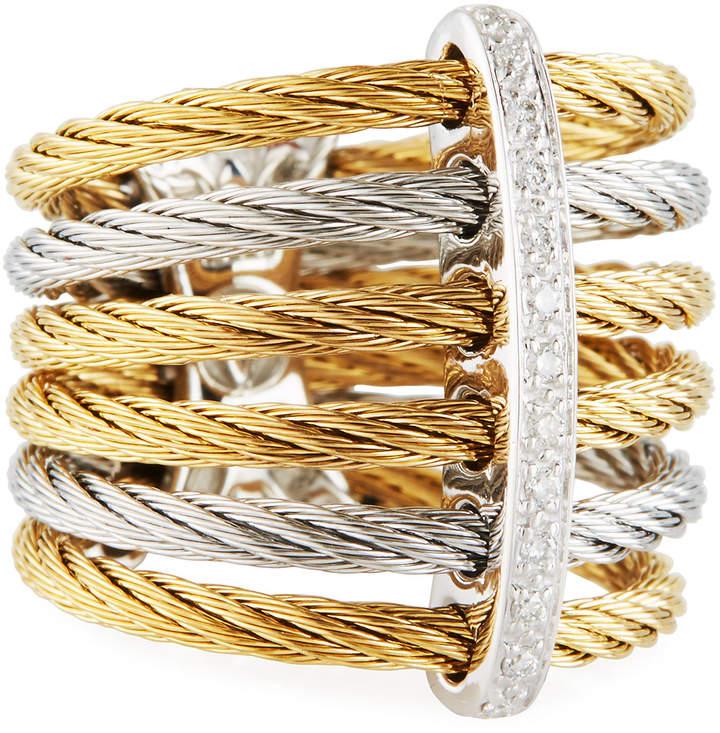Alor Classique Multi-Row Micro-Cable Band Ring, Size 7, Gold/Silver