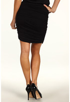 Halston Ruched Chiffon Jersey Skirt