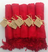 Etsy Red Shawls with Raffia Ribbon and Kraft Favor Tags, Set of 5, Pashmina, Wedding Favor, Bridal, Bride