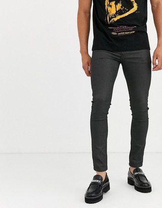 ASOS DESIGN super skinny coated smart jeans in military green