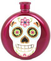 Betsey Johnson Pink-Tone Multi-Stone Sugar Skull Flask