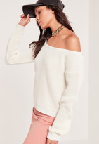 Missguided Off Shoulder Cropped Sweater White