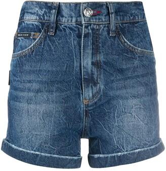 Philipp Plein Stonewashed Hot Pants