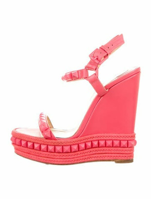 Christian Louboutin Leather Studded Accents Sandals Pink