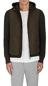 Moncler Men's Tech-Fabric & Rib-Knit Wool Hooded Jacket - Olive