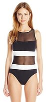 Anne Cole Women's Mesh High Neck One Piece Bathing Suit