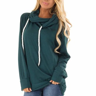 CHMORA Women's Casual Hoodies Long Sleeve Solid Color Colorblock High Neck Sweatshirt Pullover Sweater Coat (Green/L)