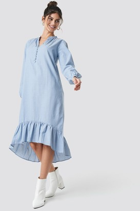 NA-KD Buttoned Neckline Puff Sleeve Dress Blue