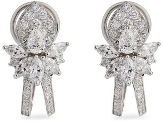 YEPREM White Gold And Diamond Fusion Of Dreams Flower Earrings